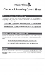 Alaska Check-In and Boarding Cut-Off Times