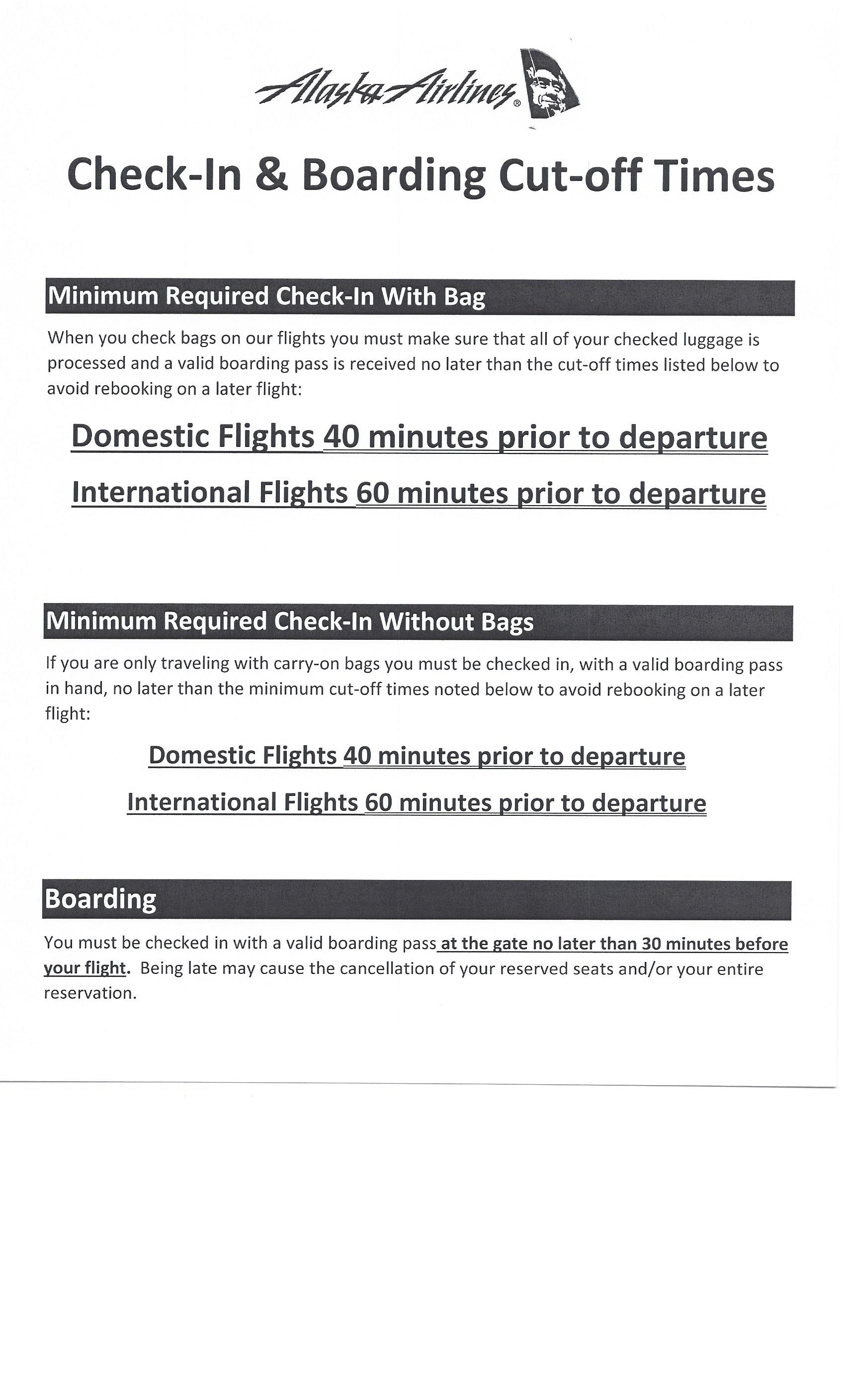 Check-In & Boarding Cut-Off Times - Pullman-Moscow Regional